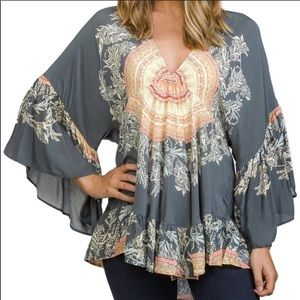 Free people sunset dreams ruffle sleeve tunic top